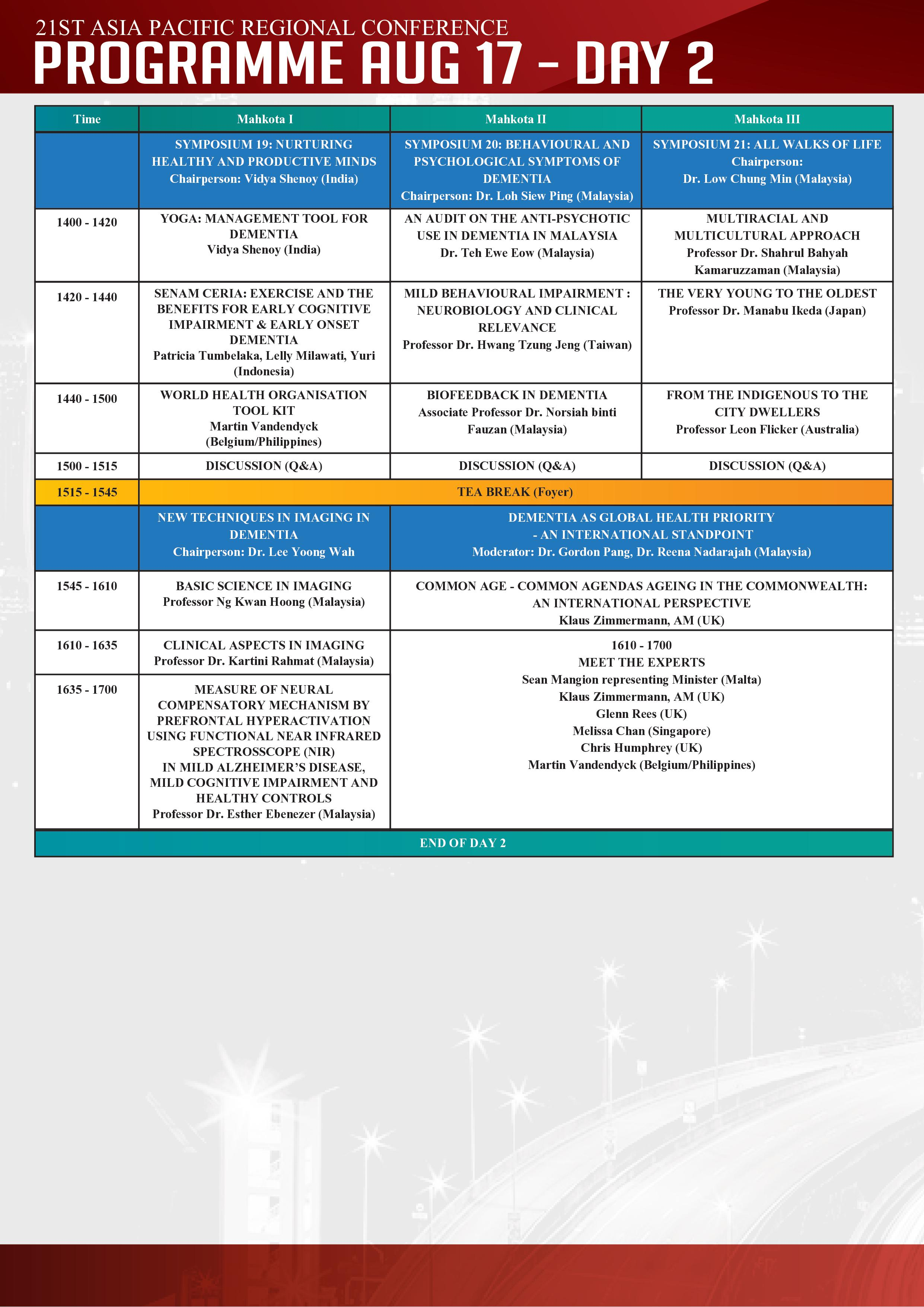 CONFERENCE PROGRAMME | aprc2019